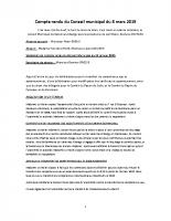 COMPTE RENDU DU CONSEIL MUNICIPAL DU 08 MARS 2019