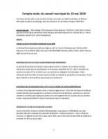 COMPTE RENDU DU CONSEIL MUNICIPAL DU 10 MAI 2019