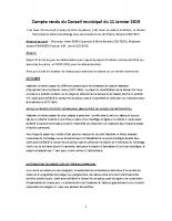 COMPTE RENDU DU CONSEIL MUNICIPAL DU 11 JANVIER 2019