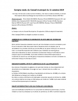 COMPTE RENDU DU CONSEIL MUNICIPAL DU 11 OCTOBRE 2019
