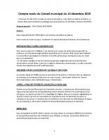 COMPTE RENDU DU CONSEIL MUNICIPAL DU 13 décembre 2019