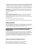 COMPTE RENDU DU CONSEIL MUNICIPAL DU 20 SEPTEMBRE 2019