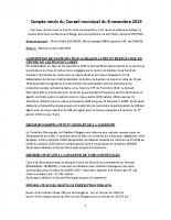 COMPTE RENDU DU CONSEIL MUNICIPAL DU 8 novembre 2019