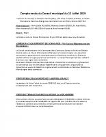 Compte rendu du Conseil Municipal du 12 juillet 2019